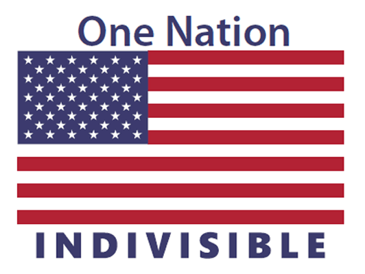 one nation indivisible with US flag